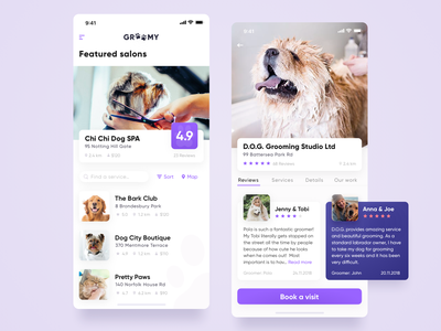 Groomy Mobile App for pets profile search review dog breed pet groomer user interface user experience ui ux list swipe summary mobile