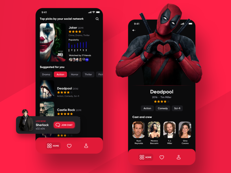 CineMe 🎬 mobile app for movies and tv shows mobile charts ranking movie cinema film ui uiux ios ux user experience user interface best ui deadpool joker chart notification