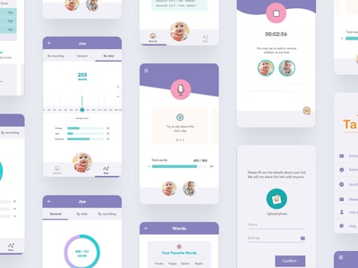 Talklet - Application record speak words parents baby kids screens ui ux design app talklet