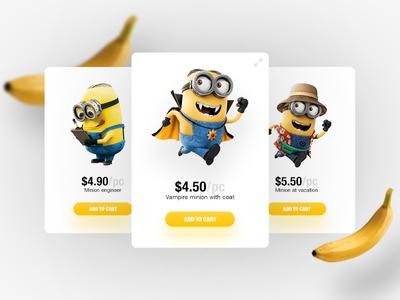 Banana~nanana~nana user interface store toy shop ui design web design banana minion