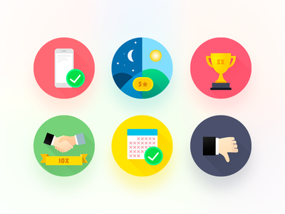 Badges for online betting service illustration ux ui blur shadow long colorful icon badge