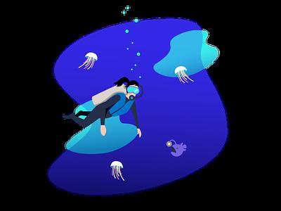 Scuba girl ocean scuba diver scuba illustration
