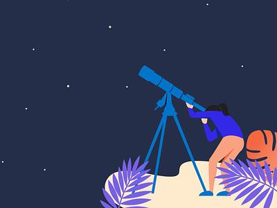 Telescope web illustration sky telescope vector girl space illustration