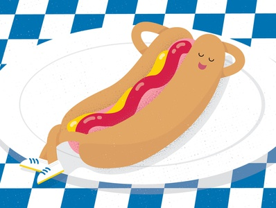 Bunning around vector hotdog illustration