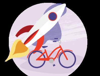 random unused web icon space travel rocket bike illustration
