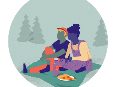 Pizza in the park picnic pizza vector illustration