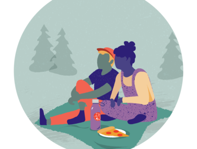Pizza in the park picnic pizza vector illustration