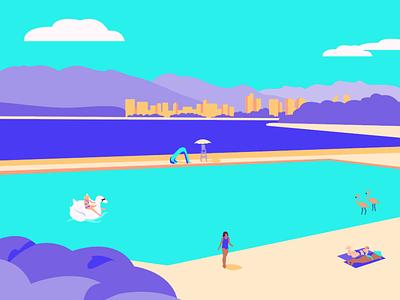 Kits Beach flamingos women flat vector girl woman colour vibrant swim float swan summer pool yoga illustraion
