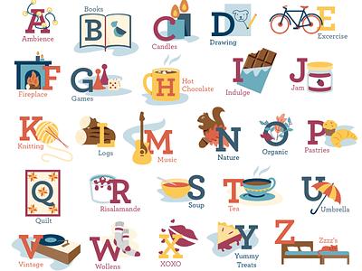 ABC of Hygge abc alphabet icon vector winter cozy illustration hygge
