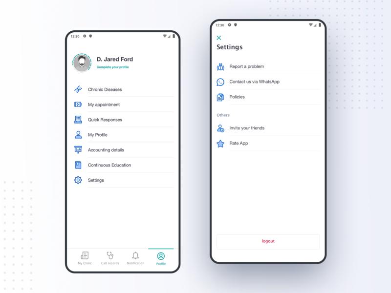 Profile - settings settings profile app design app