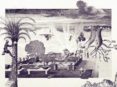 Garden of Helen landscape mermaid clouds trees garden graphic design bnw surreal collage illustration