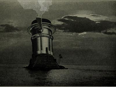 Lens Island I mystery hands sea summer island horror bnw surreal collage illustration