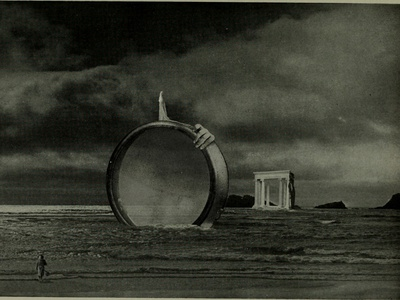 Lens Island II sea summer mystery illustration beach island bnw horror collage surreal