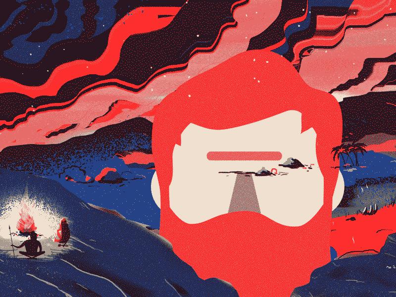 Cyclops Rising stone age beard fire primitive cavemen illustration cyclops surreal mythology greek