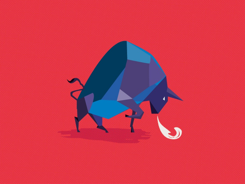 Like a bull in a china shop low poly fire nature red animal simple clean 2018 bull illustration