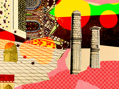 The City of YOU. 60s architecture red chaos colors surreal illustration city vintage retro collage