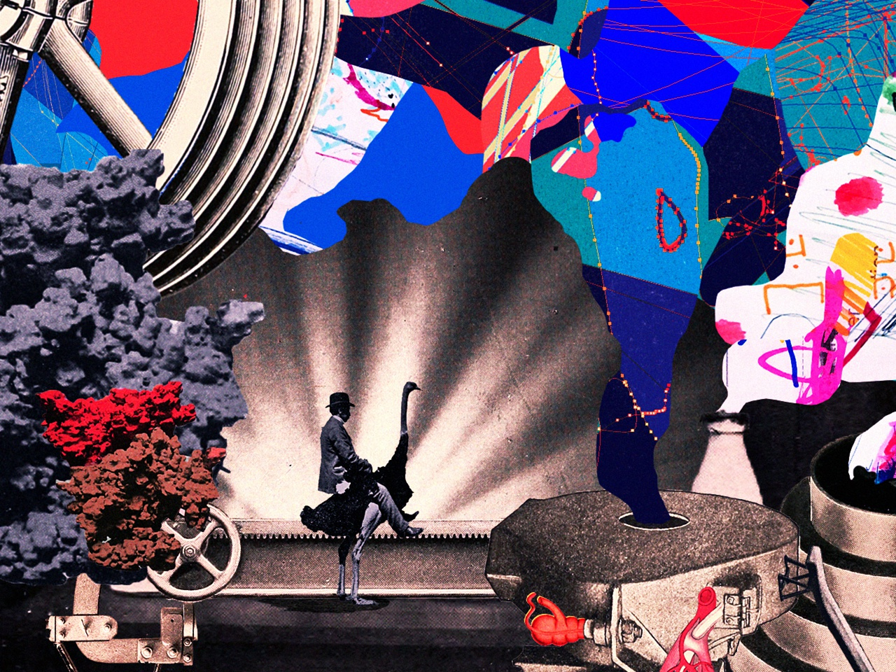 Land of a Thousand Volcanoes technology sci-fi fantasy machine rider colorful surreal collage graphic design illustration
