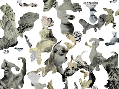 The Zoo puzzle greek roman abstract animals collage fragments statue simple illustration