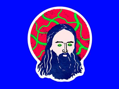 Suspicious Saint holy rasputin horror halloween saint icon colorful surreal graphic design illustration