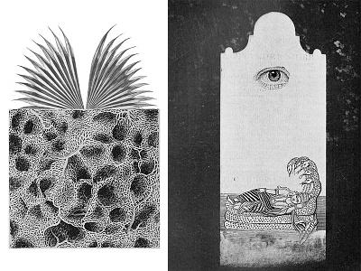 La Loona I surreal sleep eye bnw illustration graphic design hindu sci fi fantasy collage