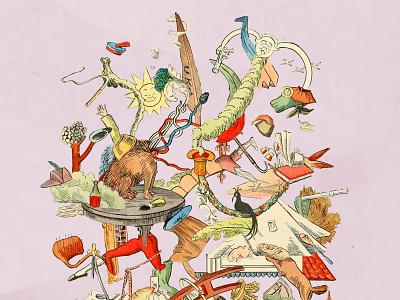 Hanky Panky children chaos random fairytale fantasy music colorful surreal collage illustration