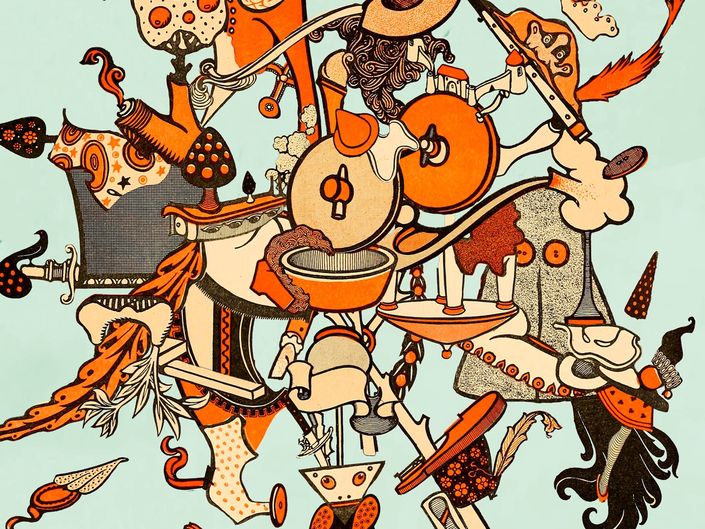 Paris 1919 paris music chaos fragments fantasy colorful surreal collage graphic design illustration