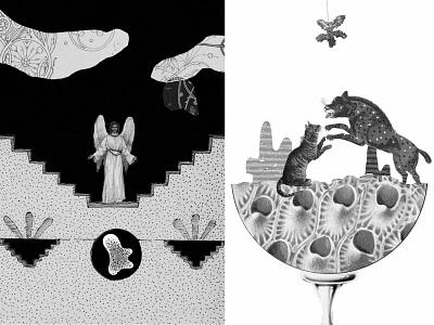 La Loona II illustration graphic design fantasy sleep surreal scifi angel cats collage bnw