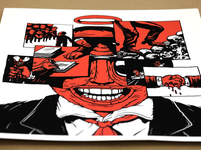 Leader - Detail anonymous seriegraphie print silk-screen leader corrupt politician editorial illustration illustration exhibition thirdeyecrying linnch