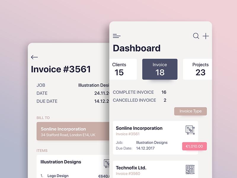 Invoice Dashboard ux ui app mobile ios dashboard invoice