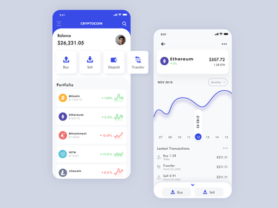 Cryptocoin App Concept crypto exchange clean concept mobile app mobile ui coinbase crypto wallet cryptocurrency crypto