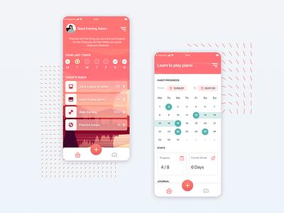 Habits Tracker App Concept translucent lifestyle tracker habits app