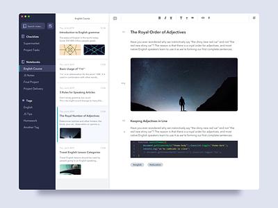 Notes App - #Exploration ui notebook notes desktop clean app