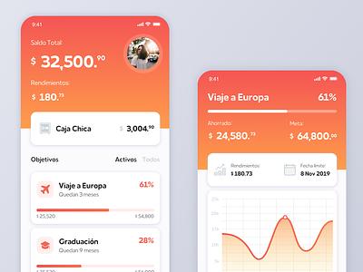 Savings App mobile app bank orange financial savings ui ios app