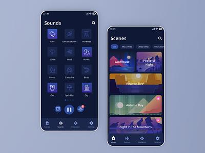 Snoozy App #Exploration mobile sounds icons relaxation sleep dark app ui