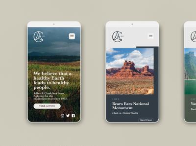Adler & Clark UI photography environmentalism lawfirm website ui design mobile web ui