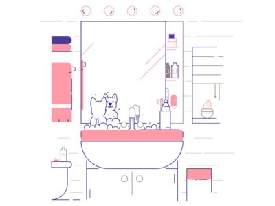 Lil' pupper taking a bath