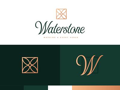 Waterstone Event Venue Logo Details wedding venue event venue script branding logo design logo