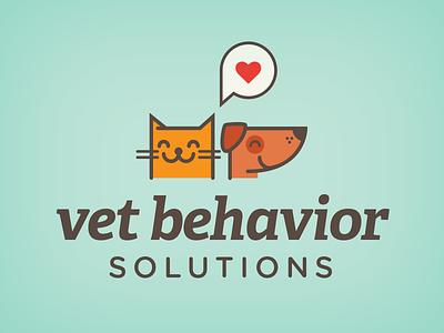 Vet Behavior Solutions Logo pets cat dog heart adelle pet logo gotham rounded