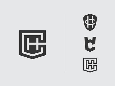 HC + Shield mark monogram logo monogram branding logo design logo shield ch hc