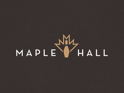 Maple Hall Bowling Alley Logo maple leaf bowling pin neutra bowling