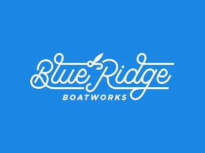 Blue Ridge Boatworks Script Logo logo logo design monoline fish boats script hook fly fishing fishing