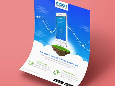 Moca - Mobile Payment haitran moca cloud payment mobile illustration flat concept art poster