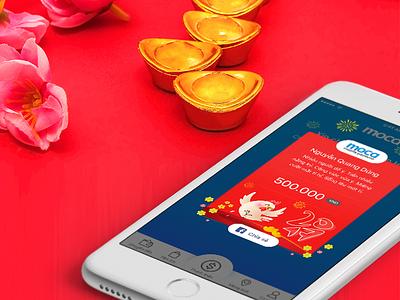 Moca Li Xi red graphic tet vietnam lunar new year p2p payment mobile ux ui li xi moca
