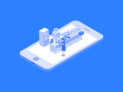 Paid and Leave isometric character store payment concept mobile illustration