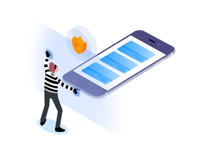 Secure  payment card phone app blue isometric illustration secure