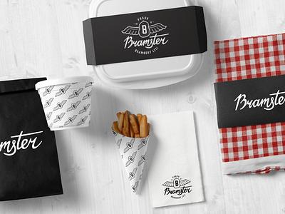 Bramster restaurant vector cafe logo brand identity food packaging hand lettering logo design packaging dribble brand logodesign food restaurant package logotype typo logo branding letters lettering typography