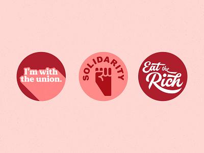 Eat The Rich alberta branding strike protest raised fist solidarity union
