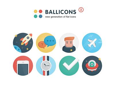 Ballicons 2 Bundle clean resources marketme stylish modern color ux ui design flat icons