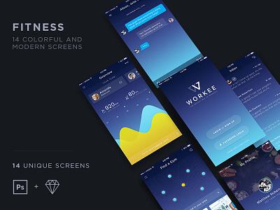 AON UI kit marketme interface professional app music mobile fitness ios webdesign ux ui