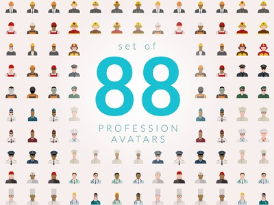 Set Of 88 Profession web job professional infographic graphic illustration webdesign ux ui avatar icons